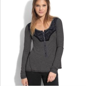 FREE PEOPLE Diego Grey Thermal Lace Gray Black Henley TOP S
